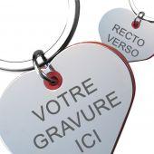 Porte-clé gravé amour miroir et rouge