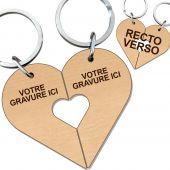 Porte clés bois gravé cœur duo amoureux