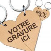 Porte clés bois gravé cœur duo