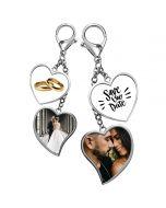 Porte clé photo double coeur