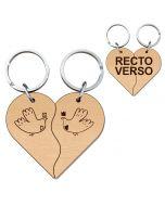 Porte clés bois gravé cœur duo vague - off