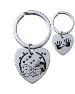 Porte-clés gravé coeur brillant