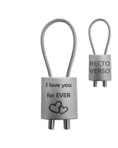 Porte-clés gravé Métal façon cadenas cable