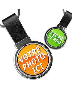 Porte clé photo rotatif rond