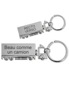 Porte-clés camion gravé métal - off