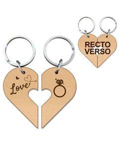 Porte clés cœur bois gravé duo amoureux