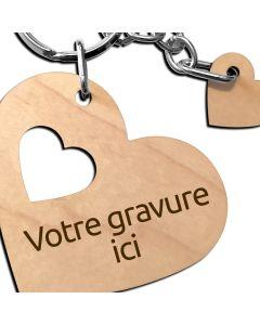 Porte clés coeur bois gravé médaillon