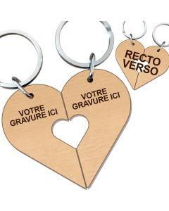 Porte clés couple amoureux cœur bois gravé