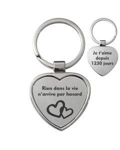 porte-clés coeur gravé