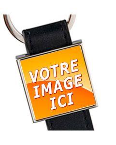 porte clés cuir métal carré