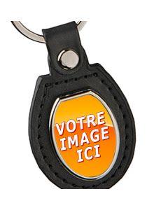 porte clés cuir métal photo ovale