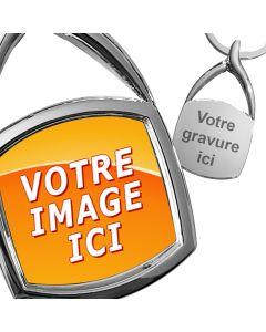 porte-clés en métal photo carré arrondi