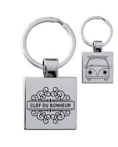 Porte-clés gravé acier carré