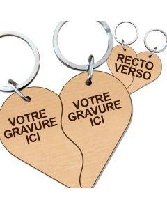 Porte clés couple cœur bois gravé vague