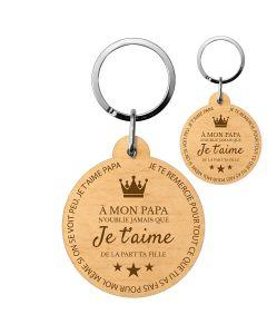 Porte-clés gravé bois je t'aime