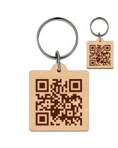 Porte clés bois gravé QR Code