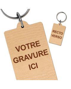 Porte clés bois gravé rectangle 30x40 mm