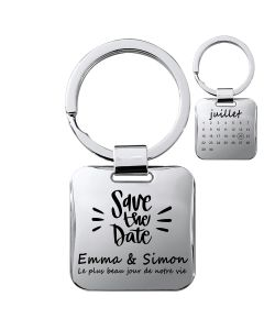 Porte-clés gravé carré silver brillant