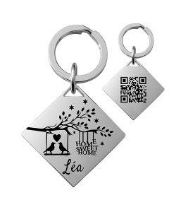 Porte-clés gravé carré argent mat