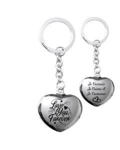 Porte-clés gravé coeur argent