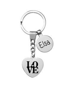 Porte-clés gravé coeur et breloque
