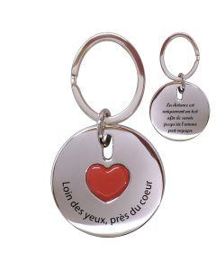 Porte-clés gravé coeur rond