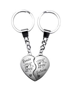 Porte-clés gravé coeur valentin