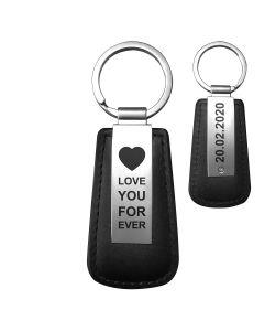 Porte-clés gravé cuir et métal