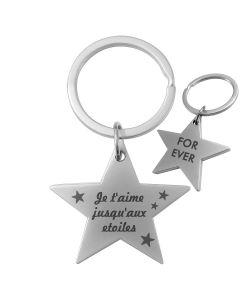 porte clés personnalisé métal gravé double face étoile