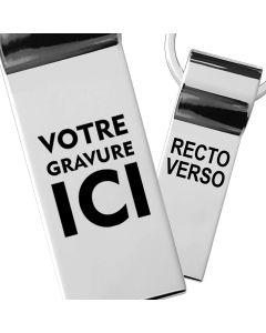 Porte-clés gravé métal chromé rectangle 40x20 mm