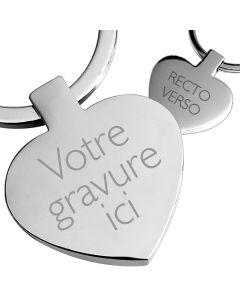 Porte clés gravé métal coeur