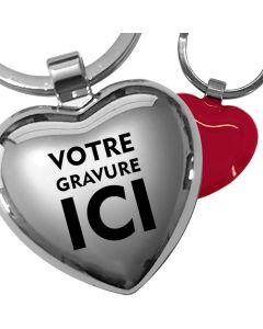 Porte-clés gravé métal coeur rouge