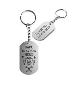 Porte-clés gravé plaque militaire