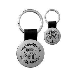 Porte-clés gravé rond cuir noir