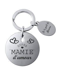 Porte-clés gravé rond plaqué argent avec médaillon
