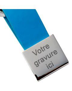 Porte-clés gravé Simili cuir et métal carré bleu