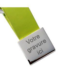 Porte-clés gravé Simili cuir et métal carré vert