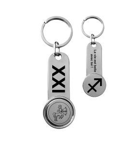 Porte-clés jeton de caddie métal gravé