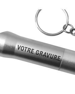 Porte clés lampe personnalisé gravé gris