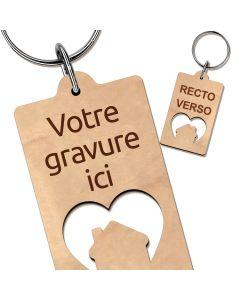 Porte clés maison coeur gravé bois