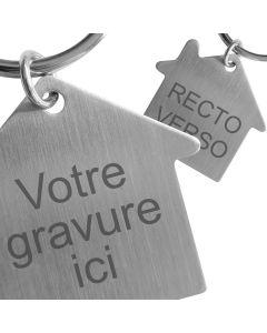 Porte clés maison métal gravé