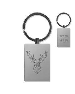 Porte clés gravé métal rectangle