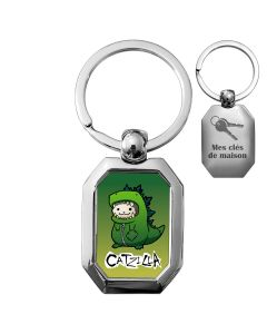 porte clés métal photo cadre octogone - off