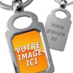 porte clés métal photo rectangle octogone