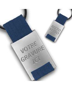 Porte clés métal tissu gravé double face bleu