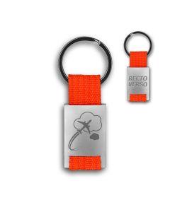 Porte clés métal tissu gravé double face orange - off