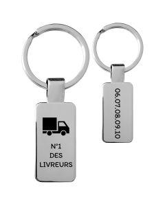 Porte-clés personnalisé acier petit rectangle