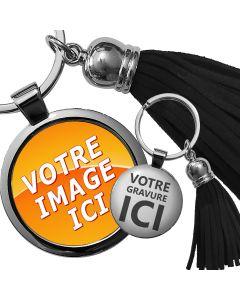 Porte-clés photo bijou pompon noir