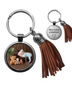 Porte-clés photo bijou pompon marron - off