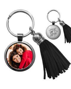 Porte-clés photo bijou pompon noir - off